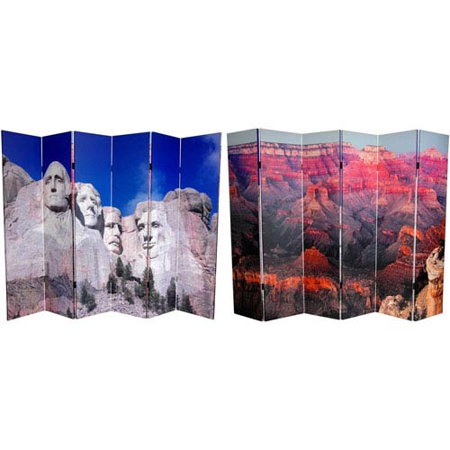 Six Ft. Tall Double Sided Monuments Canvas Room Divider - Rushmore/Grand Canyon, Width - 96 Inches