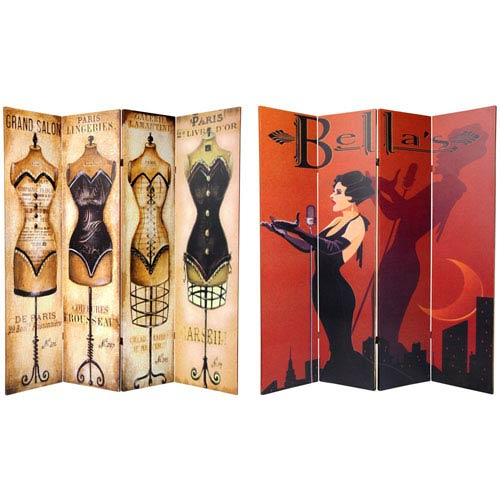 Oriental Furniture Six Ft. Tall Double Sided Mannequin and Singer Canvas Room Divider Four Panel, Width - 64 Inches