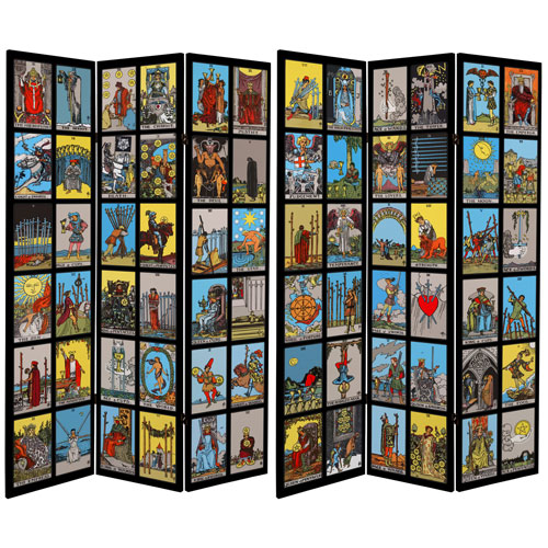 6-Foot Tall Double Sided Rider-Waite Tarot Canvas Room Divider