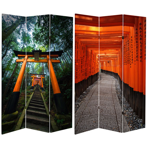 6-Foot Tall Double Sided Japanese Torii Gate Canvas Room Divider
