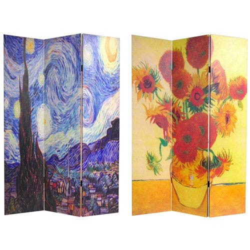 Double Sided Works of Van Gogh Canvas Room Divider, Width - 48 Inches