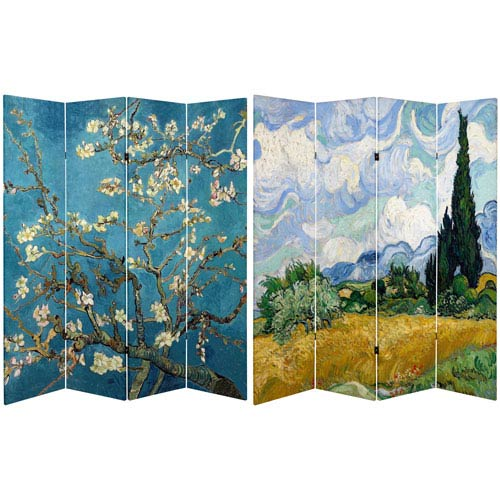 Oriental Furniture 6 Ft Tall Double Sided Works Of Van Gogh Canvas