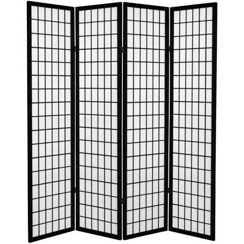 Oriental Furniture 6 Ft Tall Canvas Window Pane Room Divider Black