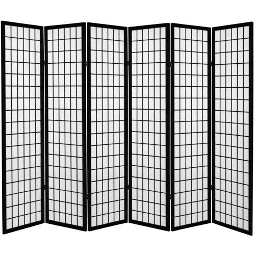 6 ft. Tall Canvas Window Pane Room Divider - Black - 6 Panels