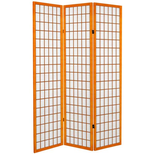 Oriental Furniture 6 Ft Tall Canvas Window Pane Room Divider Honey