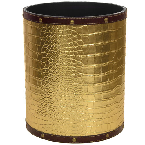 Gold Faux Leather Waste Basket