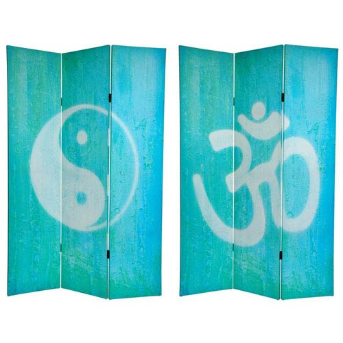 Oriental Furniture Six Ft. Tall Double Sided Yin Yang/Om Canvas Room Divider, Width - 48 Inches