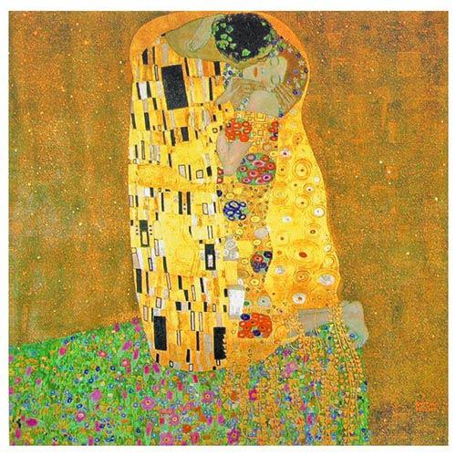 The Kiss By Klimt: 19.75 x 19.75 Canvas Wall Art