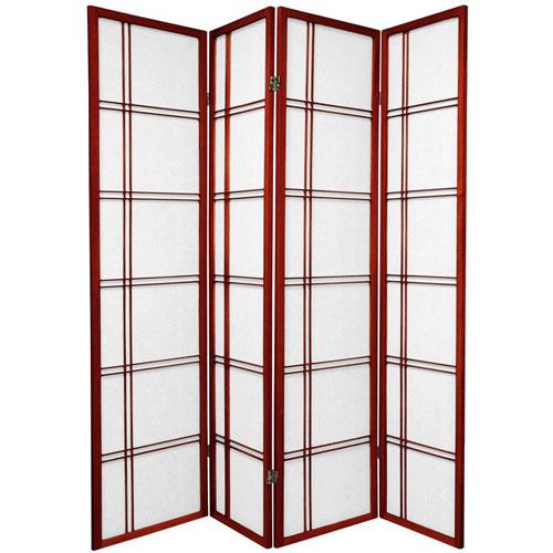 Double Cross Shoji Screen - Four Panel Rosewood , Width - 68 Inches