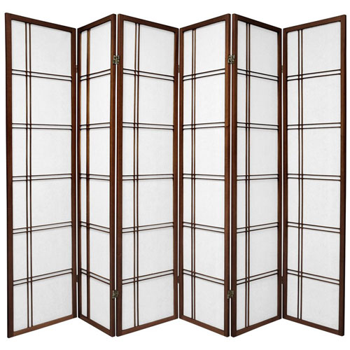Double Cross Shoji Screen - Six Panel Walnut , Width - 102 Inches