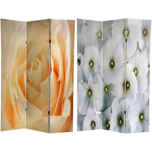 Oriental Furniture Floral Double Sided Room Divider, Width - 48 Inches