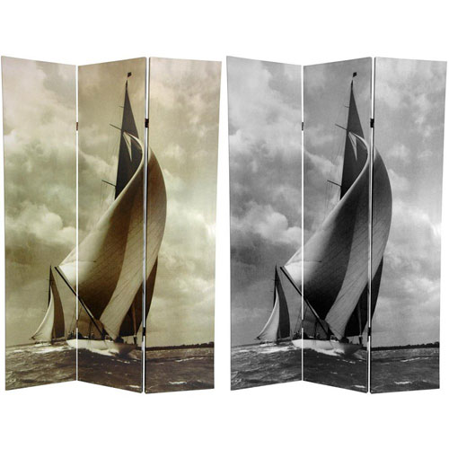 Oriental Furniture Sailboat Double Sided Room Divider, Width - 48 Inches