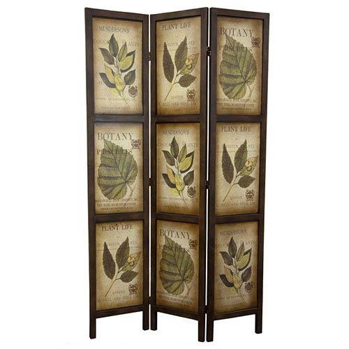 Botanic Printed Wood Three Panel Double Sided Room Divider