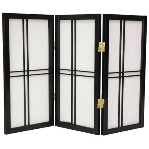Oriental Furniture Black 24-Inch Desktop Double Cross Shoji Screen