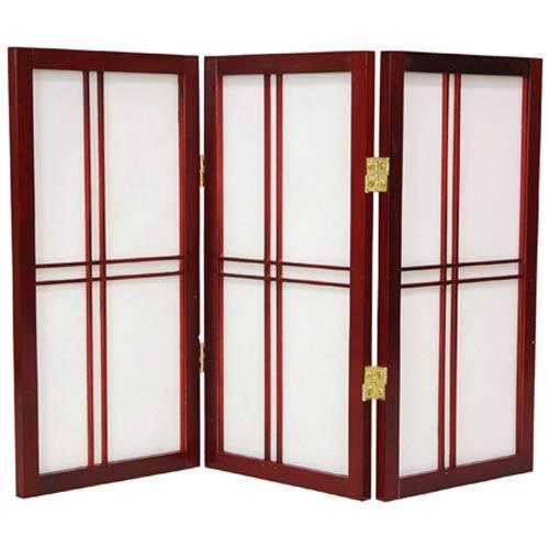 Oriental Furniture Rosewood 24-Inch Desktop Double Cross Shoji Screen