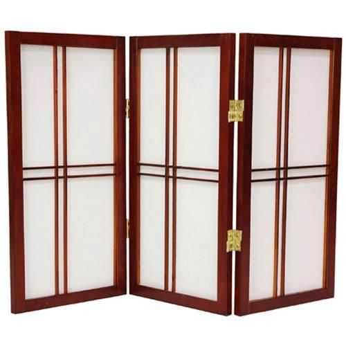 Oriental Furniture Walnut 24-Inch Desktop Double Cross Shoji Screen