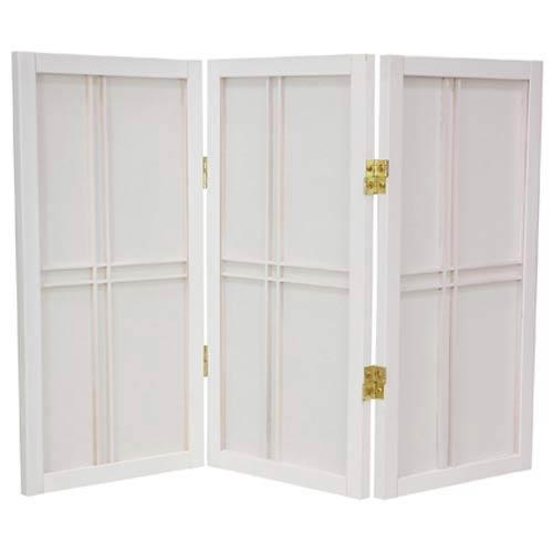 Oriental Furniture White 24-Inch Desktop Double Cross Shoji Screen