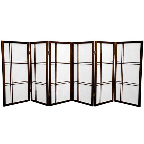Oriental Furniture Three Ft. Tall Double Cross Shoji Screen, Width - 105 Inches