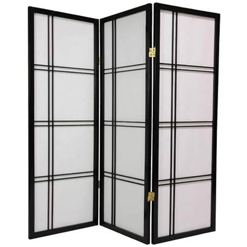 Black 48-Inch Double Cross Shoji Screen