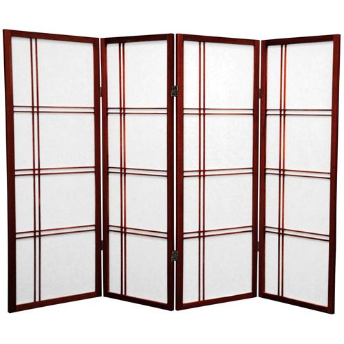 Oriental Furniture Four Ft. Tall Double Cross Shoji Screen, Width - 69 Inches