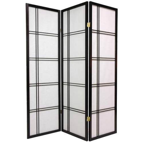 Oriental Furniture Black 60-Inch Double Cross Shoji Screen