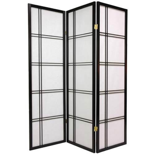 Black 60-Inch Double Cross Shoji Screen