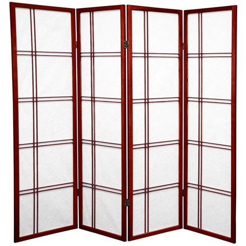 Oriental Furniture Five Ft. Tall Double Cross Shoji Screen, Width - 68 Inches