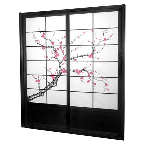 Black 7-Foot Tall Cherry Blossom Shoji Sliding Door Kit