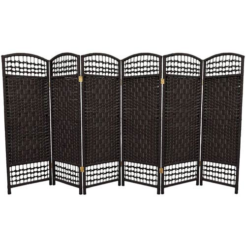 Oriental Furniture Four Ft. Tall Fiber Weave Room Divider, Width - 96 Inches