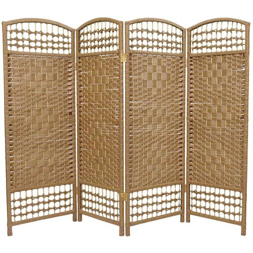 Oriental Furniture Four Ft. Tall Fiber Weave Room Divider, Width - 64 Inches