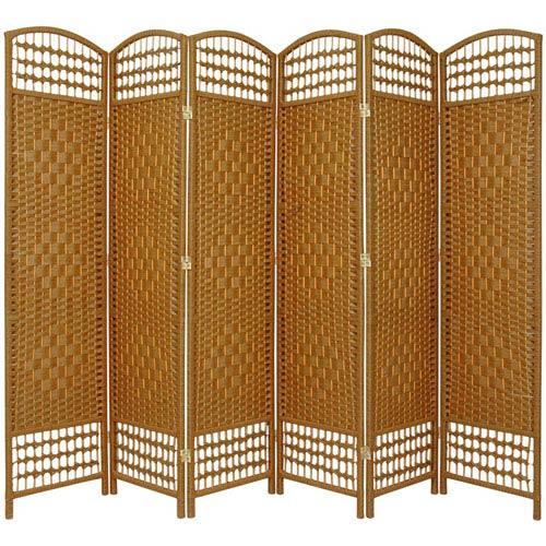 Oriental Furniture 5 1/2 Ft. Tall Fiber Weave Room Divider Light Beige Six Panel, Width - 15.5 Inches