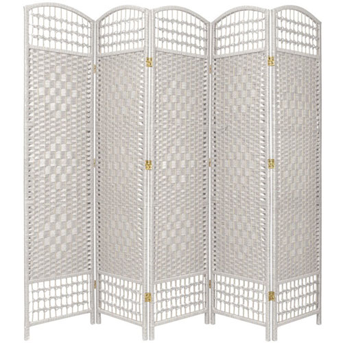 Oriental Furniture 5 1/2 Ft. Tall Fiber Weave Room Divider White Five Panel, Width - 15.5 Inches