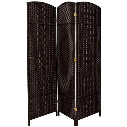 Oriental Furniture Six Ft Tall Diamond Weave Fiber Room Divider Black Three Panel Width 58 5 Inches