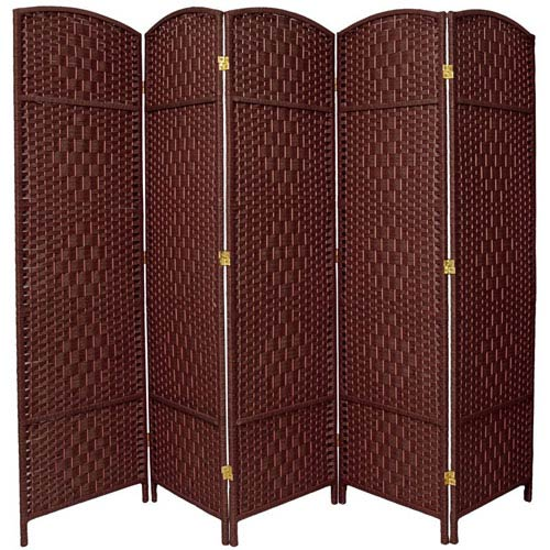 Oriental Furniture Six Ft. Tall Diamond Weave Fiber Room Divider Dark Red Five Panel, Width - 19.5 Inches