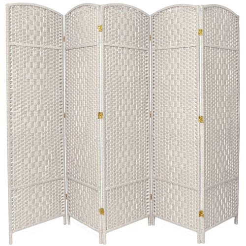 Oriental Furniture Six Ft. Tall Diamond Weave Fiber Room Divider White Five Panel, Width - 19.5 Inches