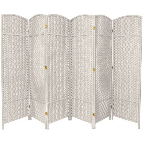 Six Ft. Tall Diamond Weave Fiber Room Divider White Six Panel, Width - 19.5 Inches