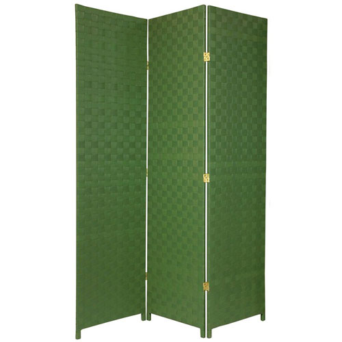 Oriental Furniture Six Ft. Tall Woven Fiber Outdoor All Weather Room Divider Three Panel Green, Width - 52 Inches