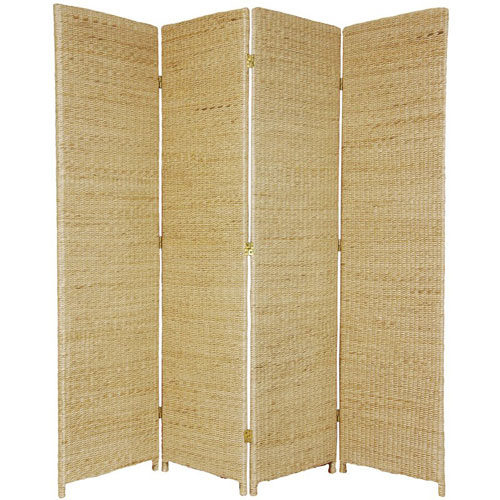 Oriental Furniture Six Ft. Tall Rush Grass Woven Room Divider Four Panel Natural, Width - 70 Inches