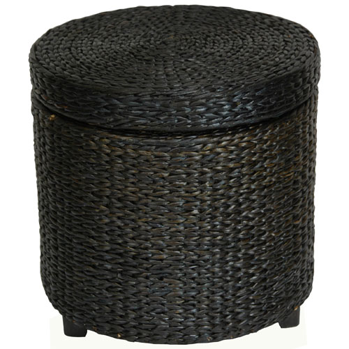 Rush Grass Storage Footstool Black, Width - 17.5 Inches
