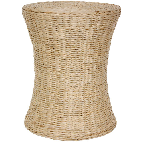 Oriental Furniture Woven Fiber Stool Natural, Width - 14 Inches