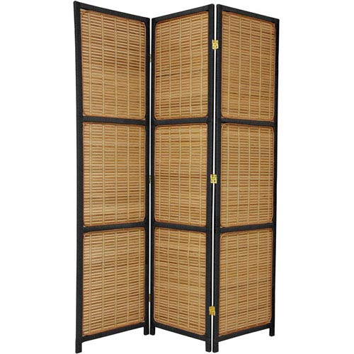 Oriental Furniture Six Ft. Tall Woven Accent Room Divider Three Panel Black, Width - 53 Inches