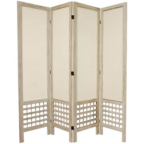 5 1/2 Ft. Tall Open Lattice Fabric Room Divider Burnt White Four Panel, Width - 17.25 Inches