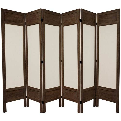 Oriental Furniture 5 1 2 Ft Tall Solid Frame Fabric Room Divider Burnt Brown Six Panel Width 17 25 Inches