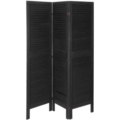 5 1/2 ft. Tall Modern Venetian Room Divider - 3 Panels - Black
