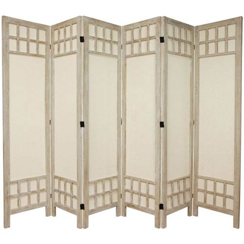 Oriental Furniture 5 1/2 Ft. Tall Window Pane Fabric Room Divider Burnt White Six Panel, Width - 17.25 Inches