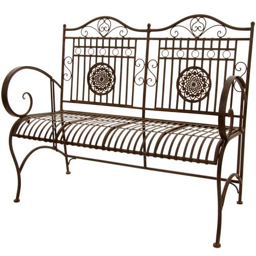 Oriental Furniture Rustic Metal Garden Bench - Rust Patina