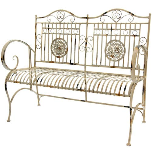 Rustic Metal Garden Bench - Distressed White
