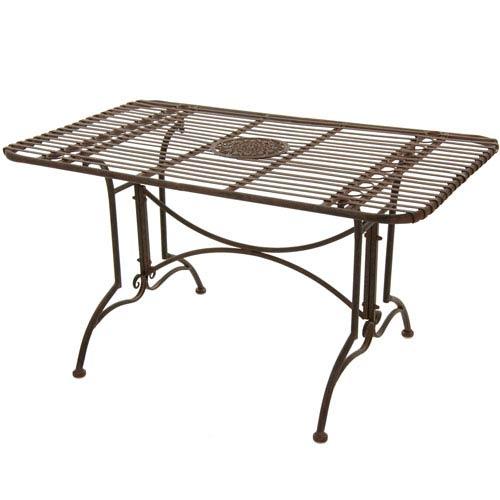 Rustic Rectangular Garden Table - Rust Patina