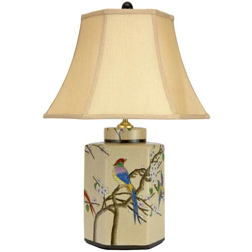 22-inch Birds and Flowers Porcelain Jar Lamp