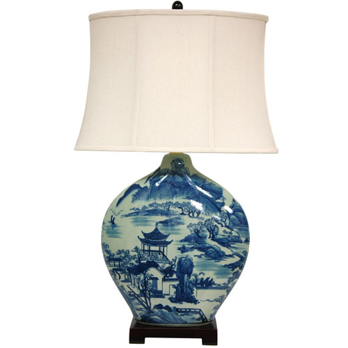 32-inch Blue and White Ming Landscape Vase Lamp